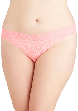 Hanky Panky Bright From the Start Thong in Neon Pink - Plus Size