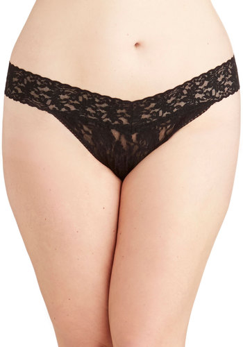 Hanky Panky Bright From the Start Thong in Black - Plus Size by Hanky Panky - Sheer, Knit, Black, Solid, Lace, Boudoir, Variation, Lace