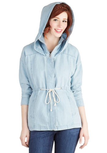 Chambray Away Jacket by Jack by BB Dakota - Denim, Woven, Mid-length, 1, Blue, Solid, Pockets, Casual, Pastel, Long Sleeve, Spring, Festival