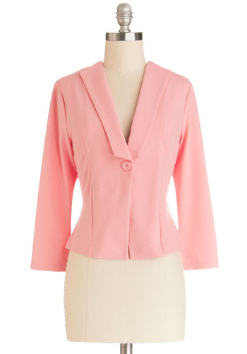 Ice Cream Entrepreneur Blazer by Jack by BB Dakota - Knit, 1, Pink, Solid, Work, Daytime Party, Pastel, 3/4 Sleeve, Spring, Valentine's, Short