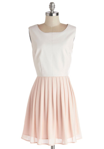 Find Your Edge Dress by Jack by BB Dakota - Exposed zipper, Pleats, Party, A-line, Sleeveless, Better, Scoop, Faux Leather, Woven, Mid-length, Chiffon, Pink, White, Solid, Valentine's, Pastel