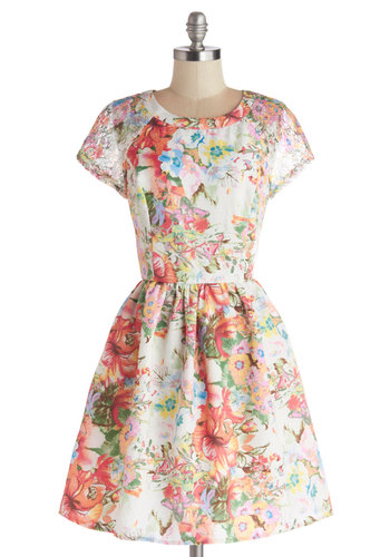Gifted Gardener Dress - Sheer, Woven, Mid-length, Multi, Pink, White, Floral, Exposed zipper, Lace, Daytime Party, A-line, Short Sleeves, Spring, Press Placement