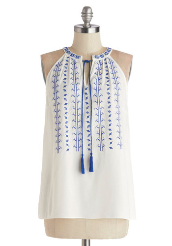 Balos Lagoon Top - Sheer, Woven, Mid-length, White, Blue, Embroidery, Casual, Boho, Vintage Inspired, 70s, Festival, Sleeveless, White, Sleeveless