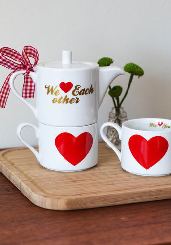 Sweetly Sipping Tea Set by Present Time - Valentine's, Multi, Better, Novelty Print