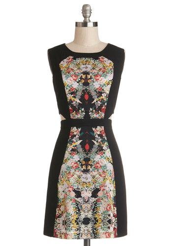 Dancing Before Dinner Dress - Woven, Mid-length, Multi, Black, Floral, Cutout, Party, Sheath / Shift, Sleeveless, Crew