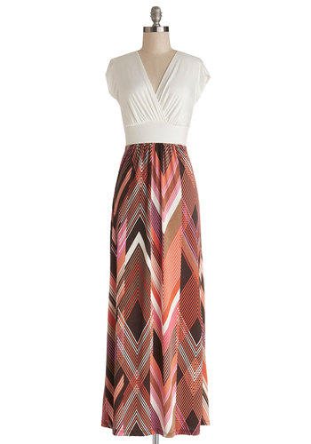 A Capella Sessions Dress - Knit, Long, White, Multi, Print, Casual, Maxi, Twofer, Cap Sleeves, V Neck