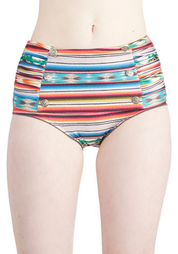 Water Park Weekend Swimsuit Bottom - Knit, Multi, Stripes, Buttons, Ruching, Beach/Resort, Summer, Festival, Underwire