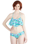 Umbrella Enchanted Swimsuit Top - Knit, Blue, Novelty Print, Ruffles, Beach/Resort, Racerback, Summer