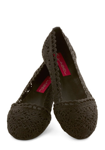 Lovely Lyricist Flat - Flat, Knit, Black, Solid, Crochet, Casual