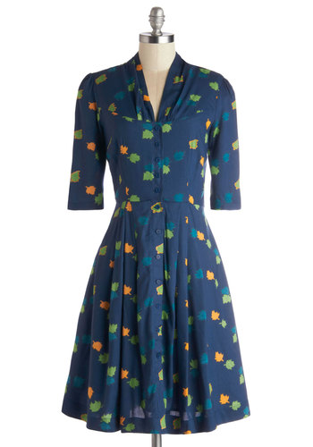 Star Studded Performance Dress in Leaves by Emily and Fin - Woven, Long, Blue, Multi, Buttons, Pockets, Casual, A-line, Short Sleeves, Better, Novelty Print, Variation