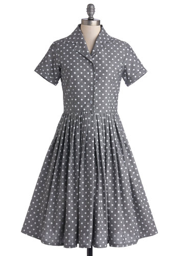 Mod of Approval Dress in Polka Dots by Myrtlewood - Grey, White, Polka Dots, Pleats, Work, Daytime Party, Vintage Inspired, 50s, 60s, A-line, Short Sleeves, Exclusives, Collared, Private Label, Cotton, Woven, Long, Buttons, Pockets, Shirt Dress