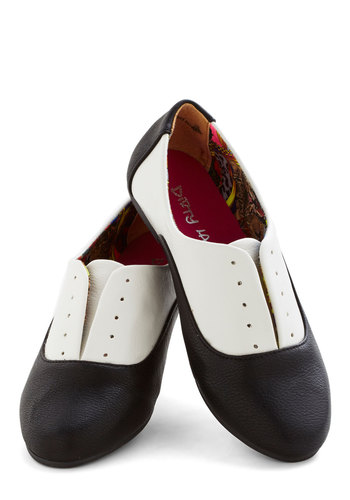 Feeling Spiffy Flat - Flat, Faux Leather, Black, White, Menswear Inspired, Vintage Inspired, 20s, 30s