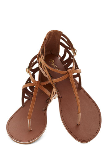 Rock 'n' Stroll Sandal in Caramel - Flat, Brown, Solid, Cutout, Beach/Resort, Festival, Summer, Variation