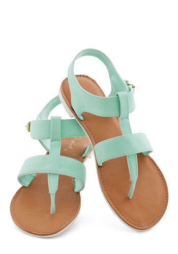 Strap It Up Sandal in Mint - Flat, Faux Leather, Mint, Solid, Casual, Beach/Resort, Pastel, Summer, Variation