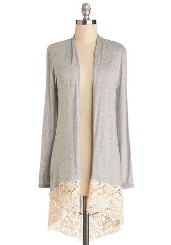 Crochet Anything Cardigan - Knit, Grey, Tan / Cream, Solid, Crochet, Casual, Long Sleeve, Grey, Long Sleeve, Good