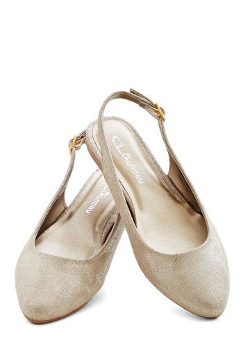 Candlelight Up the Room Flat in Champagne - Flat, Woven, Cream, Solid, Daytime Party, Slingback