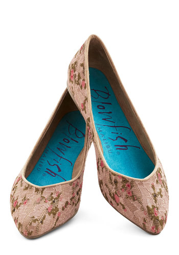 Flower Show Champ Flat - Tan, Multi, Floral, Fairytale, Flat, Good, Woven, Work, Daytime Party