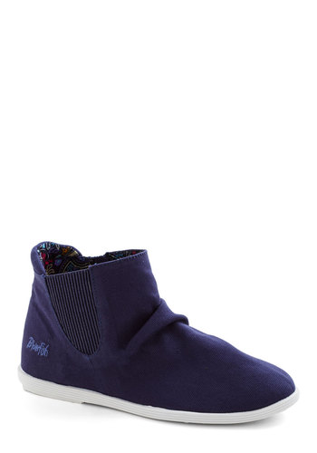 Mellow Memories Bootie - Blue, Casual, Flat, Good, Woven, Solid
