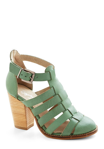 In the Sky Heel by Seychelles - Green, Solid, Daytime Party, Best, Chunky heel, Strappy, Mid, Leather, Spring