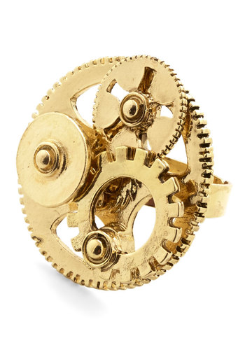 Get Yourself in Gear Ring - Solid, Steampunk, Gold, Good