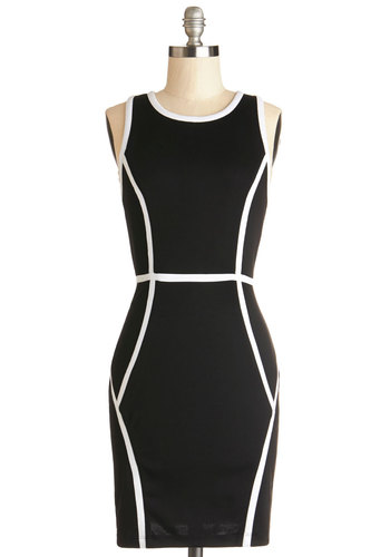 Executive Precision Dress by Jack by BB Dakota - Black, White, Exposed zipper, Trim, Party, Girls Night Out, Shift, Racerback, Better, Crew, Knit, Mid-length, Colorblocking