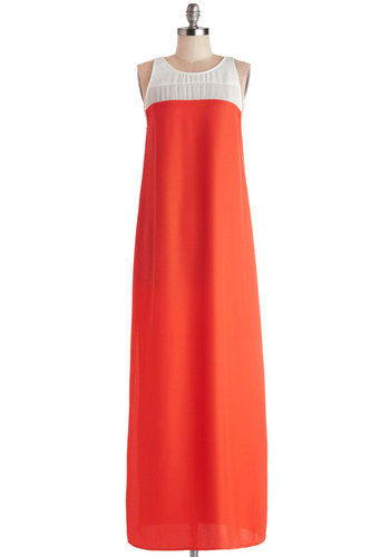 Island Reef Dress by BB Dakota - Coral, White, Casual, Colorblocking, Maxi, Sleeveless, Better, Scoop, Chiffon, Sheer, Woven, Long, Beach/Resort