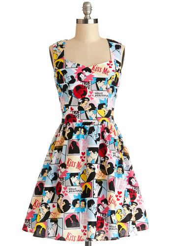 Smitten Sketching Dress - Cotton, Woven, Multi, Cutout, Casual, A-line, Sleeveless, Better, Sweetheart, Valentine's, Novelty Print, Vintage Inspired, 50s, Mid-length, Show On Featured Sale