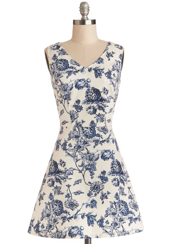 Avid Antiquer Dress - Blue, Tan / Cream, Floral, Cutout, Daytime Party, A-line, Sleeveless, Good, V Neck, Woven, Short, Bird, Woodland Creature