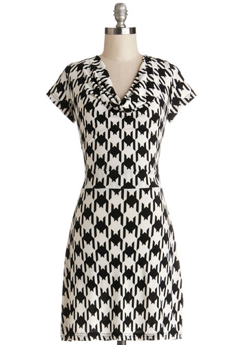 Making Headlines Dress - Knit, Mid-length, Black, White, Houndstooth, Work, Shift, Short Sleeves, Good, Cowl, Show On Featured Sale