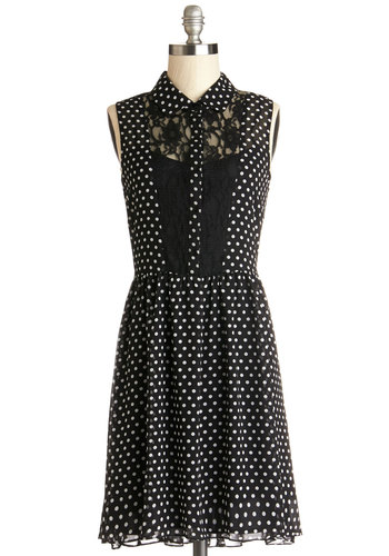 Retro Radio Personality Dress by Jack by BB Dakota - White, Polka Dots, Buttons, Lace, Casual, A-line, Shirt Dress, Sleeveless, Good, Collared, Sheer, Knit, Woven, Black, Mid-length