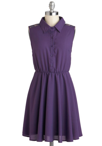 I Lilac You Too Dress - Sheer, Short, Purple, Solid, Buttons, Lace, Casual, Shirt Dress, Sleeveless, Collared