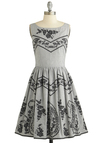 Trade Show and Tell Dress - Grey, Black, Floral, Embroidery, Casual, A-line, Sleeveless, Better, Scoop