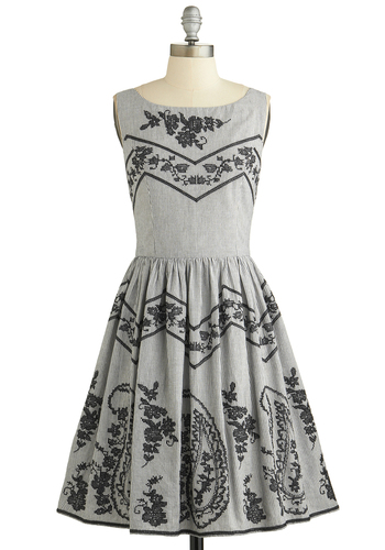 Trade Show and Tell Dress - Grey, Black, Floral, Embroidery, Casual, A-line, Sleeveless, Better, Scoop, Mid-length, Cotton, Woven