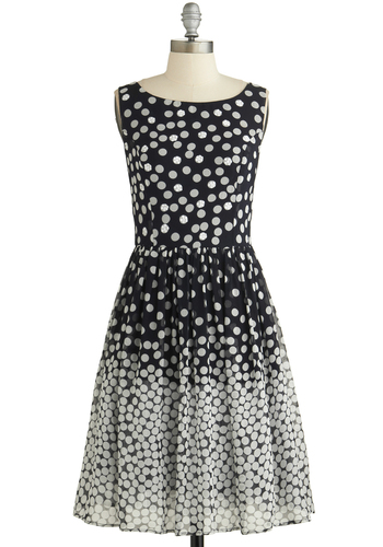 Dramatic Sequins of Events Dress - White, Polka Dots, Sequins, Party, A-line, Tank top (2 thick straps), Better, Scoop, Mid-length, Woven, Black, Grey