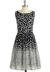 Dramatic Sequins of Events Dress - Black, White, Polka Dots, Sequins, Party, A-line, Tank top (2 thick straps), Better, Scoop