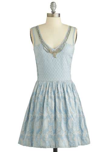 Arts Cooperative Dress - Blue, White, Silver, Paisley, Beads, Sequins, Party, A-line, Sleeveless, Better, V Neck, Woven, Mid-length, Sheer