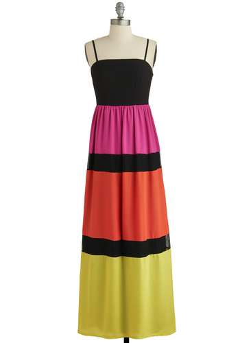 Vivid Dreams Dress - Multi, Casual, Colorblocking, Maxi, Spaghetti Straps, Better, Orange, Yellow, Pink, Black, Lace, Beach/Resort, Woven, Long, Festival, Summer, Boho