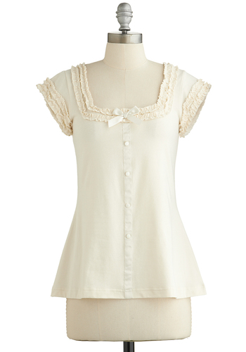 Let's Get Baking! Top by Effie's Heart - Cream, Solid, Bows, Buttons, Ruffles, Trim, Daytime Party, French / Victorian, Cap Sleeves, Cotton, Knit, Mid-length, White, Sleeveless