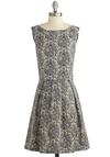 Solo Show Dress by Pink Martini - Blue, Floral, Pleats, Daytime Party, A-line, Sleeveless, Better, Scoop, Tan / Cream, Print
