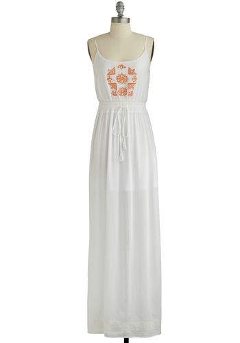 Rove the Grove Dress - White, Orange, Embroidery, Casual, Boho, Festival, Maxi, Spaghetti Straps, Better, Scoop, Vintage Inspired, 70s, Chiffon, Sheer, Woven, Long, Beach/Resort