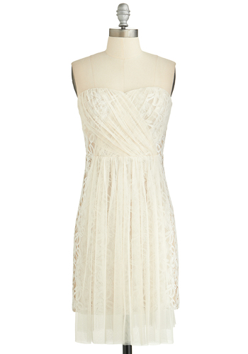 Under the Starlight Dress - White, Solid, Wedding, Cocktail, Bride, A-line, Strapless, Better, Sweetheart, Sheer, Knit, Woven, Lace, Short