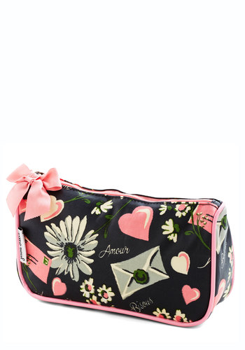 Winsome Whimsy Makeup Bag - Valentine's, Pink, Black, Novelty Print, Bows, Travel