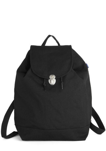 Park Bench Backpack in Black by Baggu - Black, Silver, Solid, Casual, Scholastic/Collegiate, Minimal, Good, Variation, Basic, Cotton, Woven, Travel, Eco-Friendly