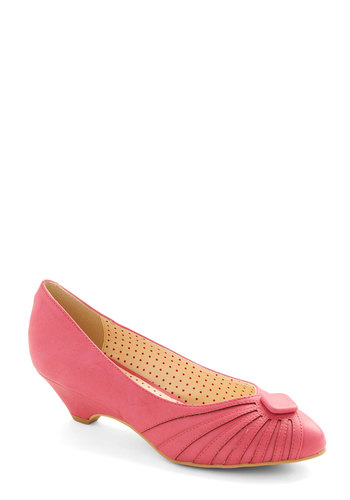 Burst of Fresh Flair Heel in Pink by Bait Footwear - Mid, Faux Leather, Pink, Solid, Buttons, Party, Work, Valentine's, Vintage Inspired, 20s, 30s, Better, Variation