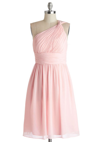 Moonlight Marvel Dress in Rose - Chiffon, Woven, Pink, Solid, Ruching, Wedding, Cocktail, Bridesmaid, A-line, One Shoulder, Better, Prom, Pastel, Variation, Spring, Mid-length