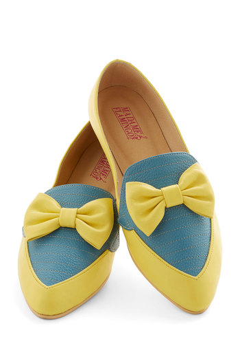 Gelato Getaway Flat in Lemon - Flat, Leather, Yellow, Blue, Solid, Bows, Party, Menswear Inspired, Colorblocking, Best, Variation, Statement