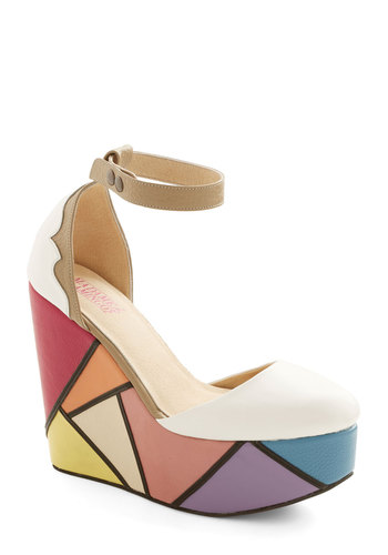 True Glass Act Wedge - High, Leather, Print, Party, Statement, Best, Platform, Wedge, Colorblocking, Multi, White
