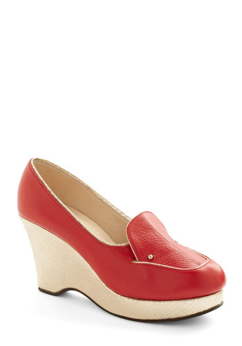 Arrivals Gate Heel - Mid, Leather, Red, Solid, Work, Menswear Inspired, Best, Wedge, Gold, Platform