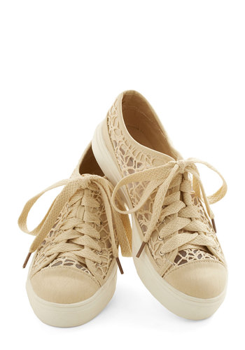Delicate Art Sneaker - Low, Sheer, Faux Leather, Knit, Cream, Lace, Good, Casual, Lace Up, Lace, Summer