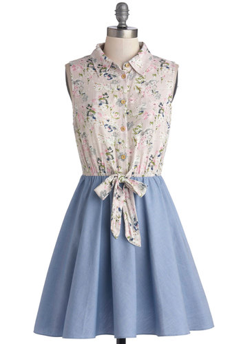 Flautist and About Dress - Multi, Floral, Buttons, Casual, A-line, Twofer, Sleeveless, Better, Collared, Cotton, Sheer, Woven, Mid-length, Blue, Spring, Summer
